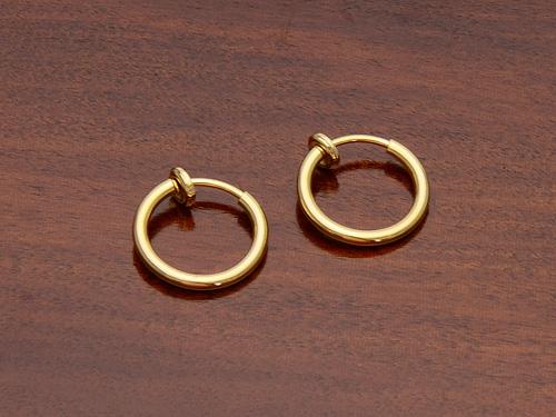 ノンホールピアス フープイヤリング ゴールド Φ1.2cm No.6137