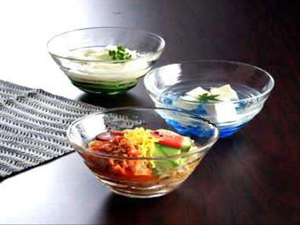 中国大連工芸ガラス 手作り冷麺鉢 3色組