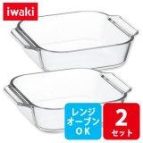 iwaki オーブントースター皿 ハーフ 2枚組 セット 電子レンジ・オーブンOK 耐熱ガラス イワキ グラタン皿【ネコポス不可】