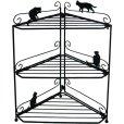 画像1: Abeille コーナーラック ネコ 猫 ねこ キッチン収納 シンプル かわいい おしゃれ シルエット 黒猫 ネコポス不可 (1)