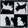 画像1: Abeille 今治 タオルハンカチ 日本製 ネコ 猫 ねこ ハンドタオル シンプル かわいい おしゃれ シルエット 黒猫 ネコポスOK (1)