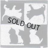 Abeille 今治 タオルハンカチ 日本製 ネコ 猫 ねこ ハンドタオル シンプル かわいい おしゃれ シルエット 黒猫 ネコポスOK