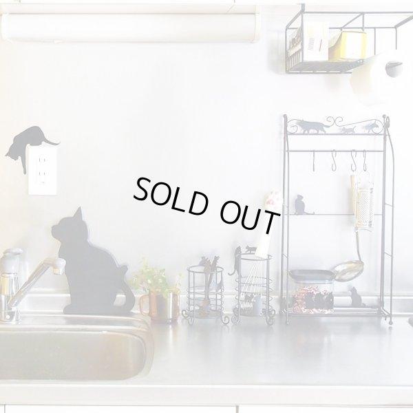 画像2: Abeille マルチスタンド SS ネコ 猫 ねこ ラック 小物入れ 見せる収納 シンプル かわいい おしゃれ シルエット 黒猫 ネコポス不可
