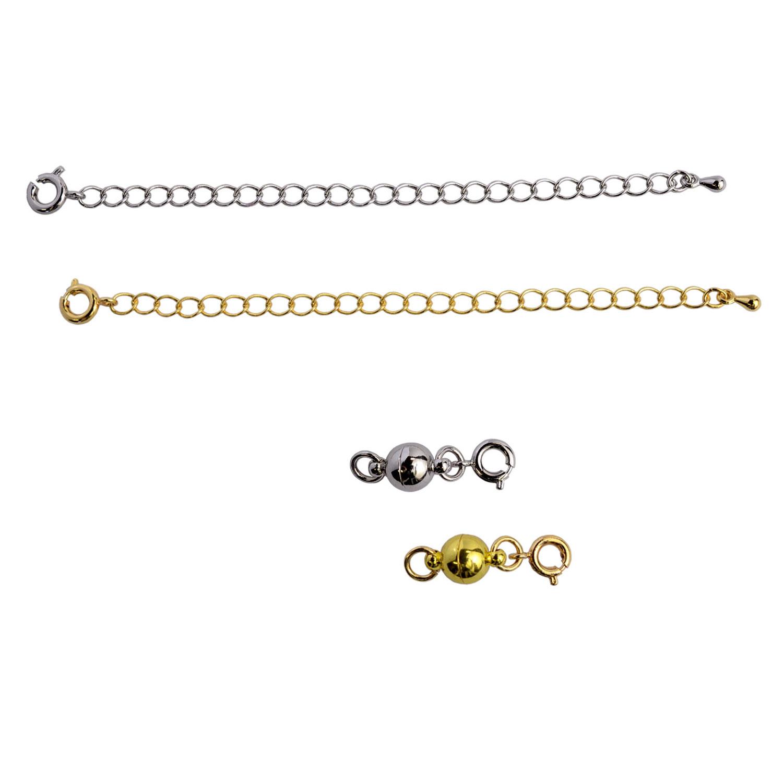 画像1: ネコポス送料無料 マグネット留め具 アジャスターセット ゴールド&シルバー 2色組 つけにくいネックレスのイライラを解消 マグネットパーツ 延長チェーン