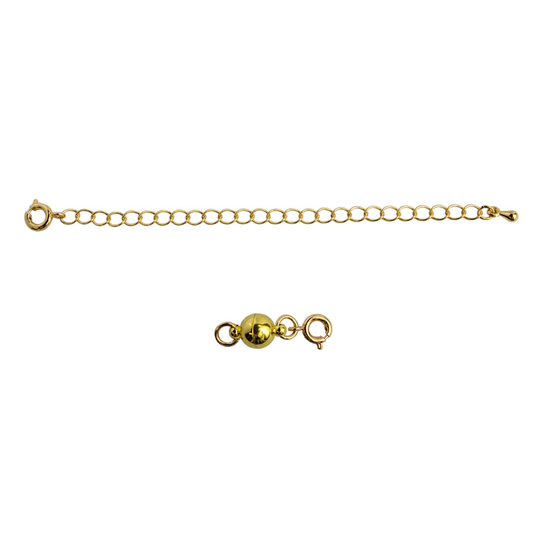 画像1: ネコポスOK マグネット留め具 アジャスターセット ゴールド つけにくいネックレスのイライラを解消 マグネットパーツ 延長チェーン