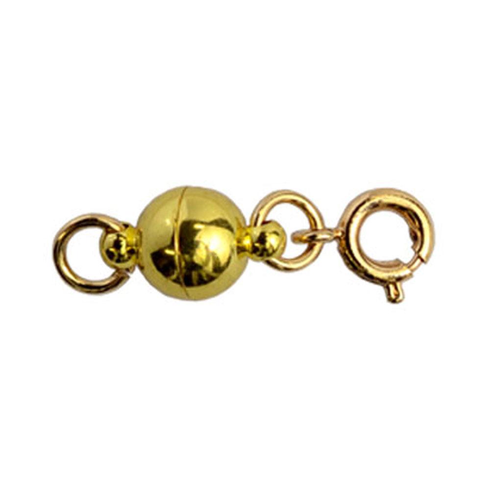 画像1: ネコポスOK  マグネット留め具 ゴールド 単品販売 つけにくいネックレスのイライラを解消 マグネットパーツ エンドパーツ 磁石金具