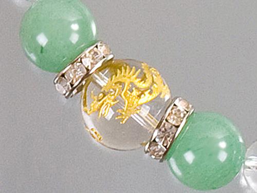 画像2: 【ネコポスOK】開運 昇竜水晶彫刻 天然石数珠ブレスレット12mm 翡翠