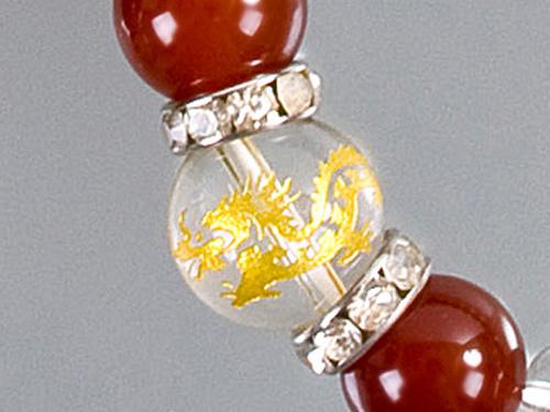 画像2: 【ネコポスOK】開運 昇竜水晶彫刻 天然石数珠ブレスレット12mm 赤メノウ