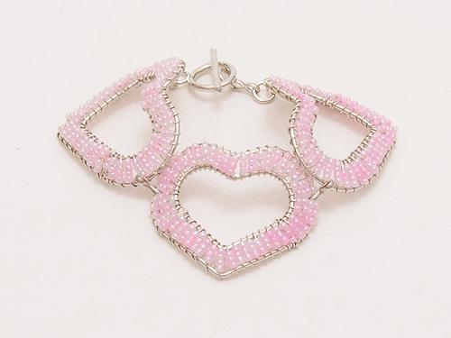 画像2: 【ネコポスOK】【値下げしました】ビーズブレス ハート3 ピンク