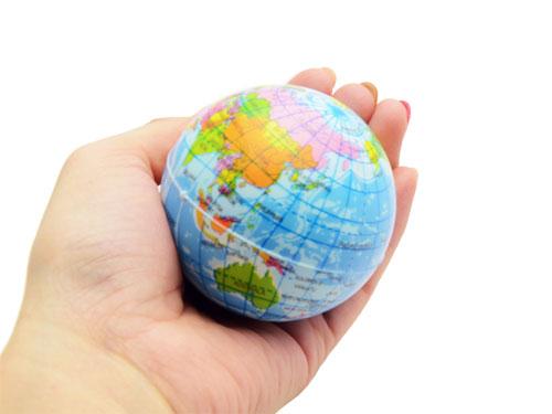画像2: 【ネコポス不可】手のひらサイズの地球 むにむに!地球儀ボール 縁日/子ども会/ノベルティ/配布/記念品/お祭り/PUボール/ノンキャラ