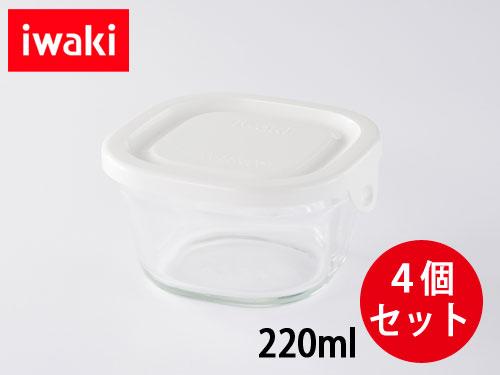 画像1: iwaki パック&レンジSSプチ 4個セット ホワイト 重ね小分けパック220ml 耐熱ガラス 保存容器 N3200-W