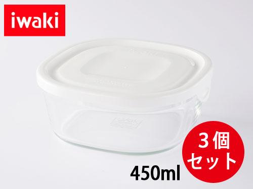 画像1: iwaki パック&レンジSミニ浅型 3個セット ホワイト 重ねパック450ml 耐熱ガラス 保存容器 N3240-W