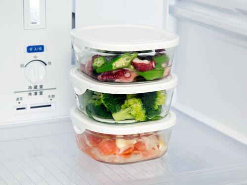 画像2: iwaki パック&レンジSミニ浅型 3個セット ホワイト 重ねパック450ml 耐熱ガラス 保存容器 N3240-W