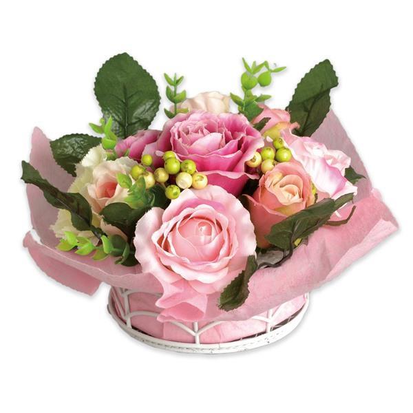 画像1: テーブルアレンジフラワー 造花 ピンクローズ 薔薇 バラ かわいい【ネコポス不可】