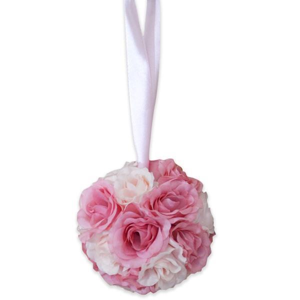 画像1: クリスティンF ローズボウルホルダー ローズブーケ 造花 フラワーブーケ ピンクローズ バラ 薔薇【ネコポス不可】
