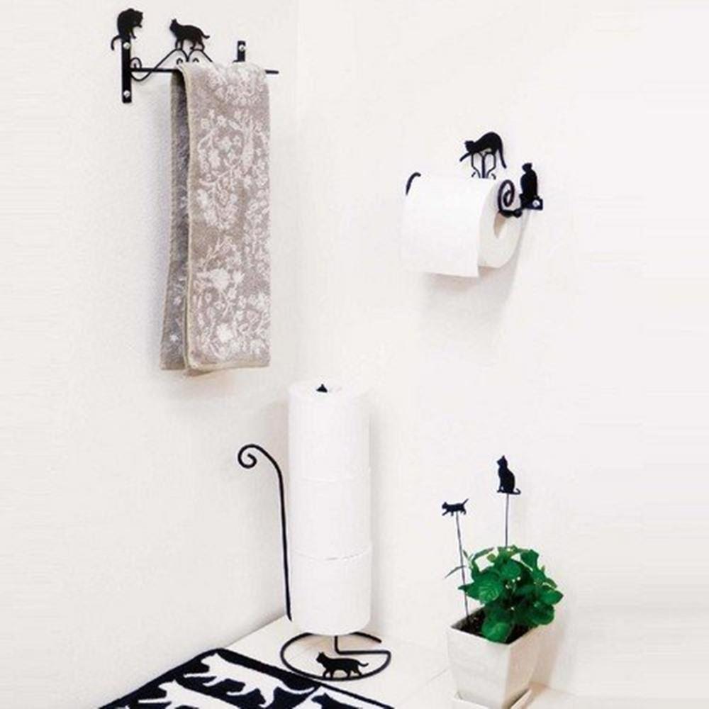 画像2: Abeille トイレットペーパーストッカー ネコ 猫 ねこ トイレ収納 シンプル かわいい おしゃれ シルエット 黒猫 ネコポス不可