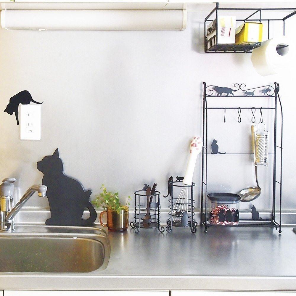 画像2: Abeille キッチンペーパースタンド ネコ 猫 ねこ キッチン収納 シンプル かわいい おしゃれ シルエット 黒猫 ネコポス不可