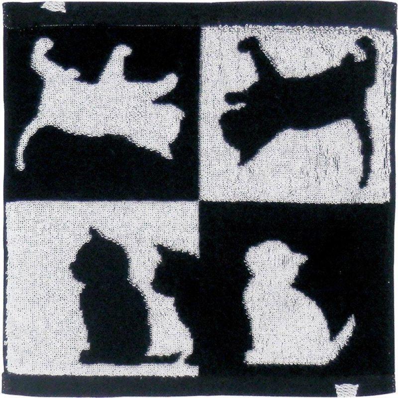 画像1: Abeille 今治 タオルハンカチ 日本製 ネコ 猫 ねこ ハンドタオル シンプル かわいい おしゃれ シルエット 黒猫 ネコポスOK