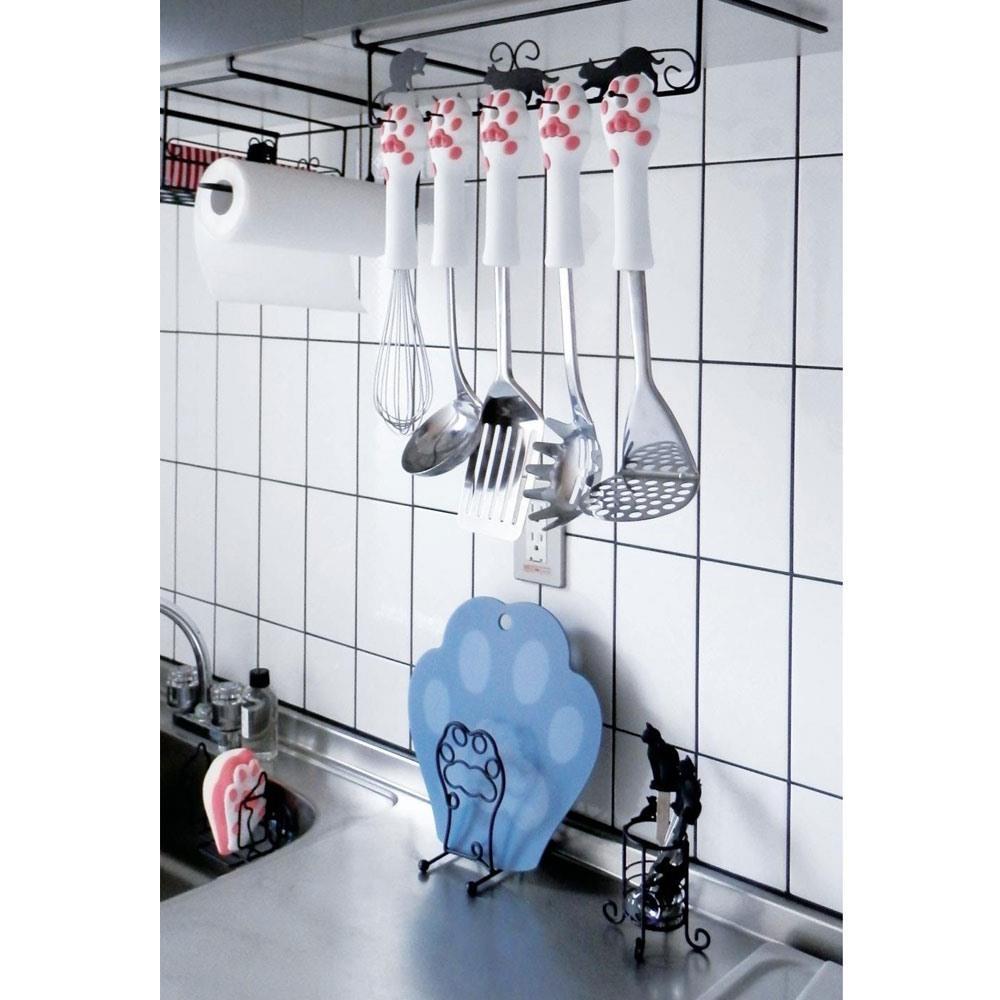 画像2: Abeille まな板スタンド ネコ 猫 ねこ まな板立て キッチン収納 シンプル かわいい おしゃれ シルエット 黒猫 ネコポス不可