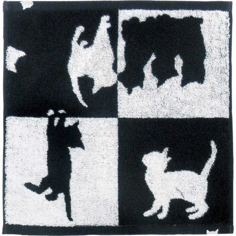 画像1: Abeille 今治 ウォッシュタオル 日本製 ネコ 猫 ねこ フェイスタオル シンプル かわいい おしゃれ シルエット 黒猫 ネコポスOK