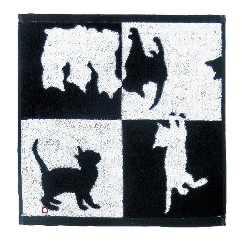画像2: Abeille 今治 ウォッシュタオル 日本製 ネコ 猫 ねこ フェイスタオル シンプル かわいい おしゃれ シルエット 黒猫 ネコポスOK