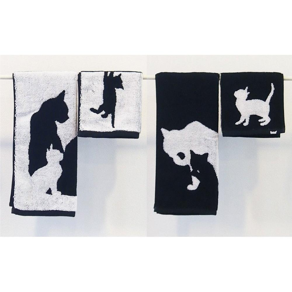 画像3: Abeille 今治 ウォッシュタオル 日本製 ネコ 猫 ねこ フェイスタオル シンプル かわいい おしゃれ シルエット 黒猫 ネコポスOK